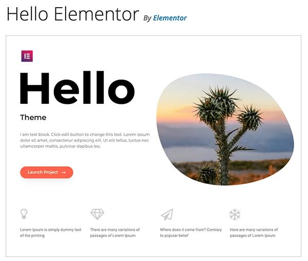 Hello Elementor theme.