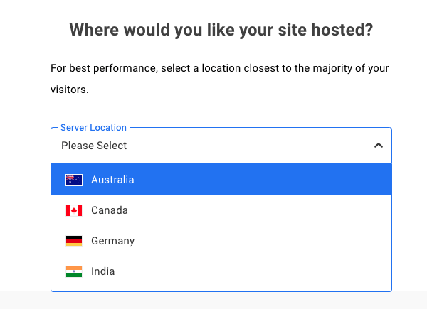 A screen where you can select your hosting location