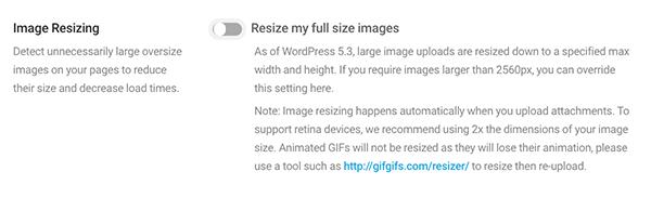 Where you activate image resizing.