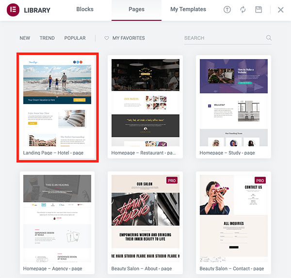 Elementor page building themes.