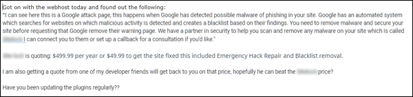 Malware removal quote.