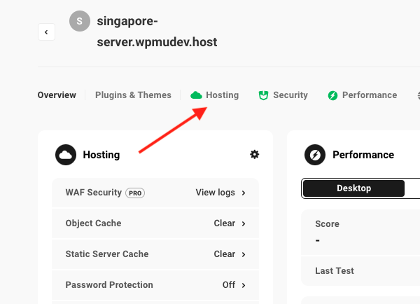 A screen showing the Hub dashboard where you will select the Hosting tab