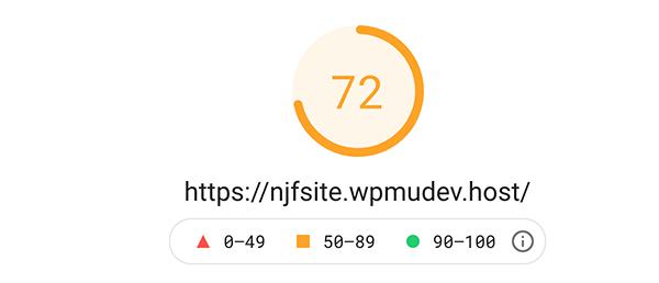 Google PageSpeed Insight score of 72.