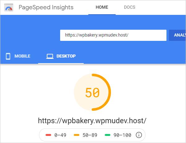 Google PageSpeed Insights - Desktop results after setup.