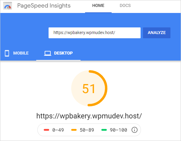 Google PageSpeed Insights - Desktop results after Smush WPBakery integration.