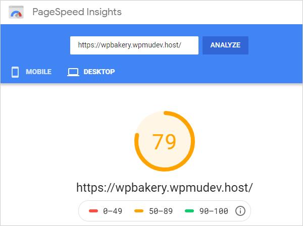 Google PageSpeed Insights desktop score.