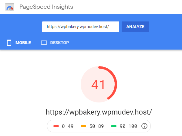 PageSpeed Insights mobile score.