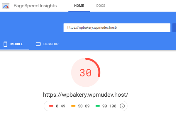 Google PageSpeed Insights - Mobile results after setup.