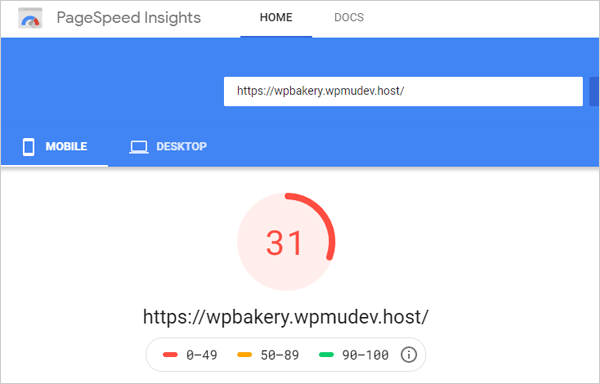 Google PageSpeed Insights - Mobile results after Smush WPBakery integration.