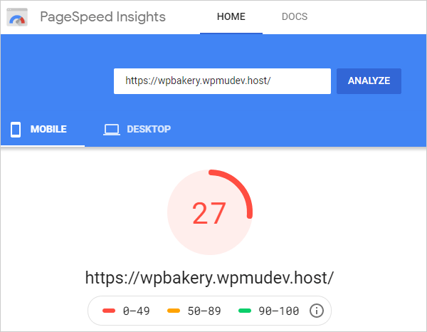 Google PageSpeed Insights - Initial Mobile results.