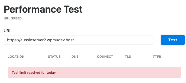A screen showing the test limit reached notification that popped up