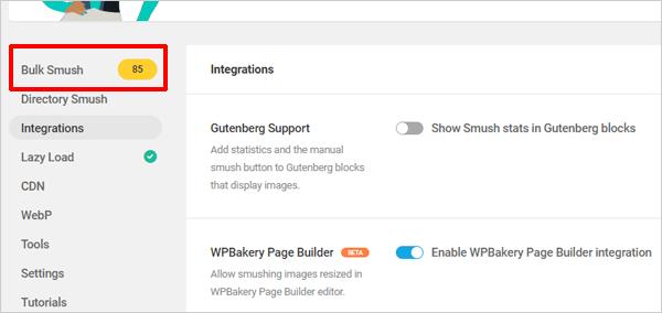 Bulk Smush images after WPBakery integration.