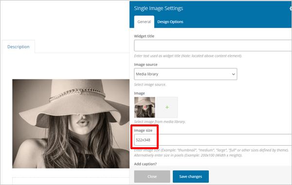 WPBakery - Custom sized images.