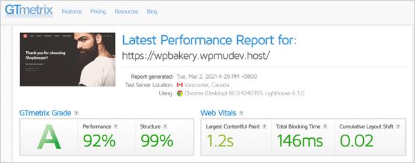 GTmetrix Performance Report.