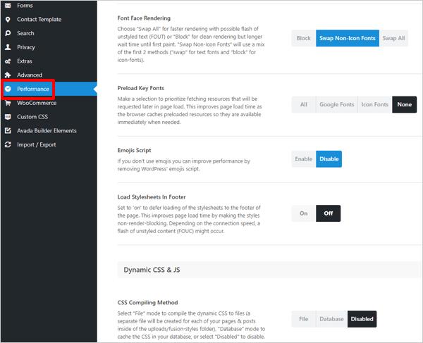 Avada WordPress Theme - Performance Options.