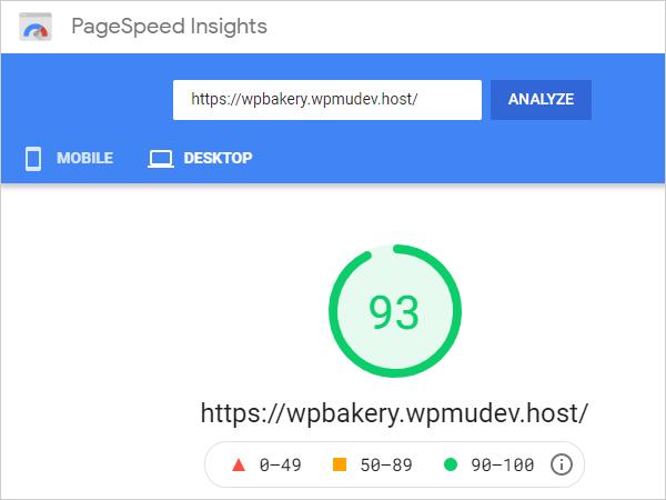 Google PageSpeed Insights Score - Desktop.
