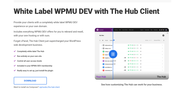 A screenshot of The Hub Client landing page