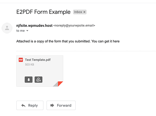 How the PDF looks in the email.