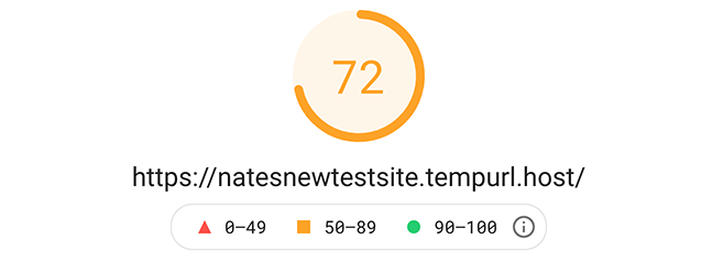 The first google pagespeed insight score.