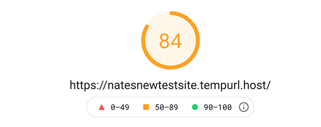 84 google pagespeed insight score.