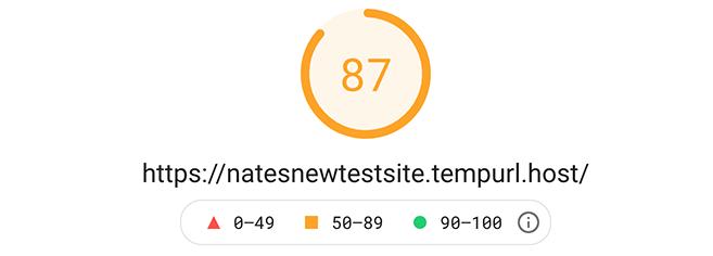 87 google pagespeed insight score of 87.