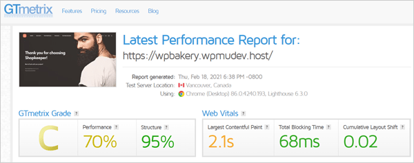 GTmetrix results after Smush WPBakery integration.