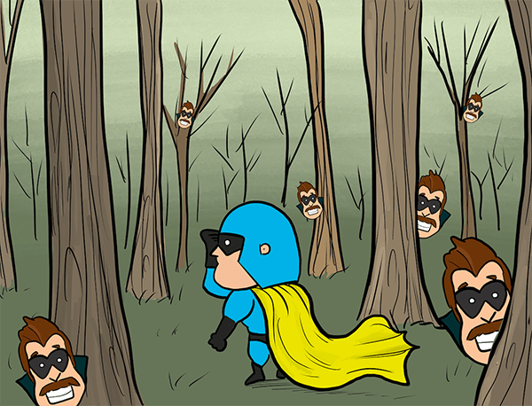 Cartoon - Devman searching through the forest as Hustle pops up everywhere.