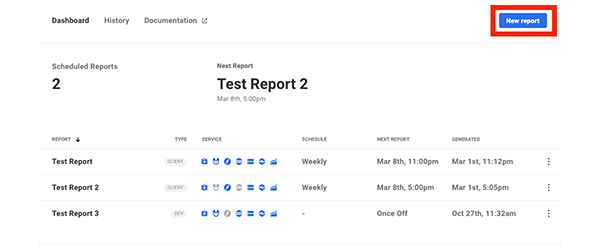 Where it shows reports in the hub.