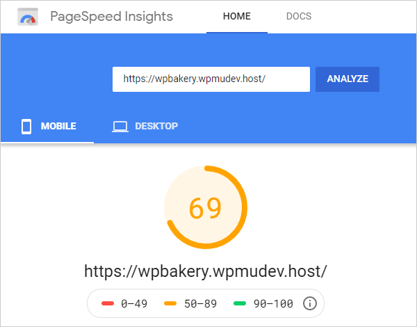Google PageSpeed Insights Score - Mobile.