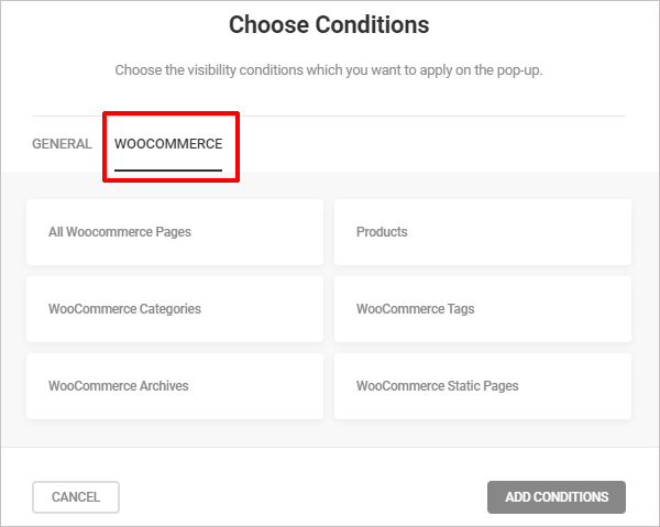 Hustle - WooCommerce visibility conditions.