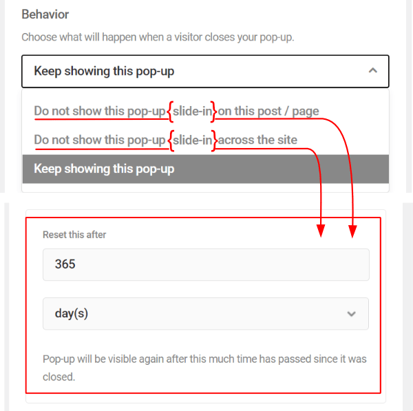Behavior Closed by (additional dropdown settings)