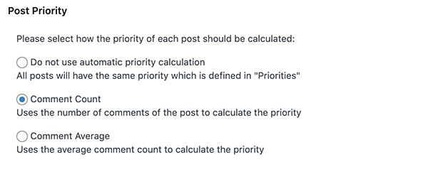 Post priority options.