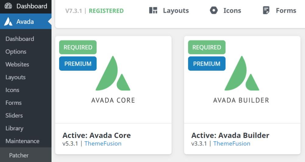 Avada Core & Builder plugins.