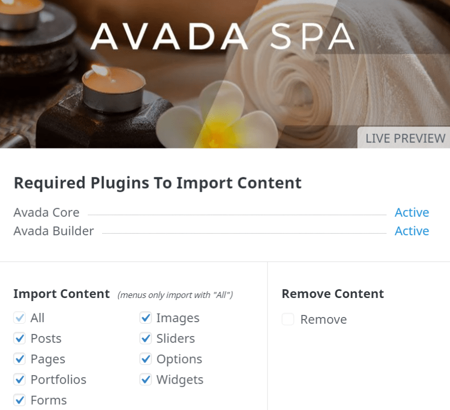 Avada Spa import screen.