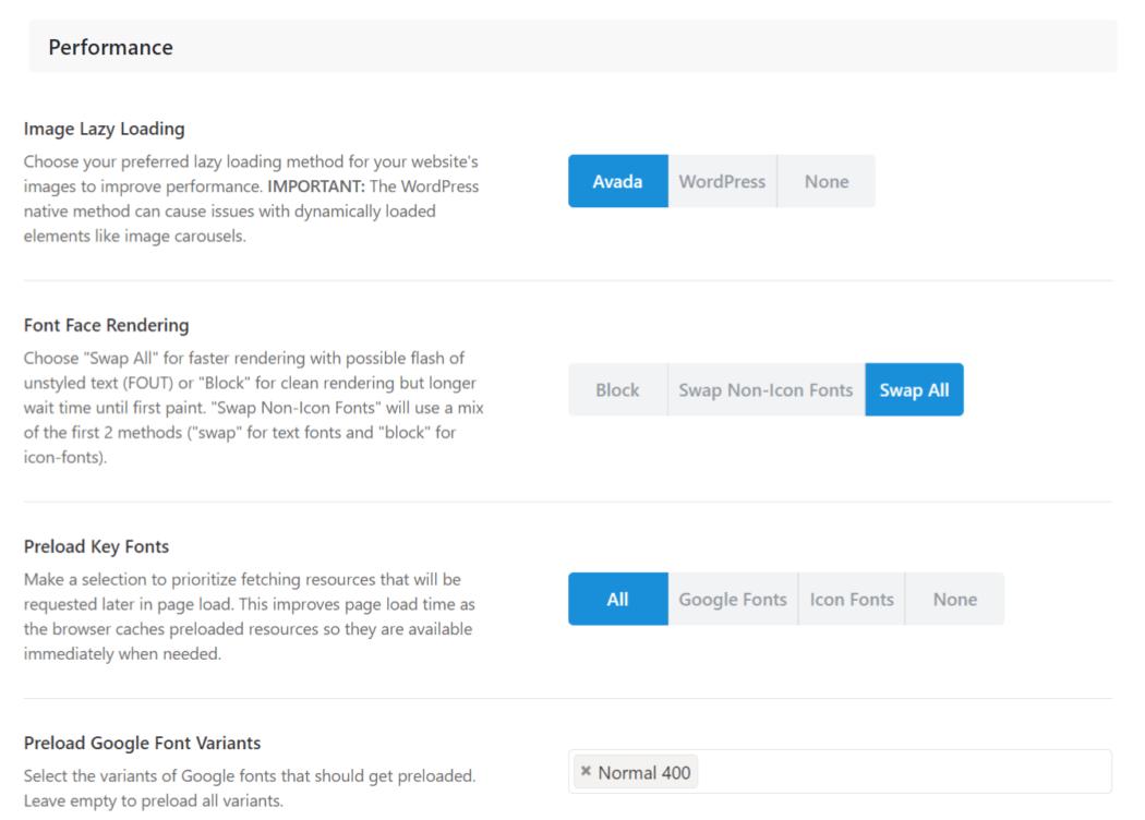 Avada built in Optimizer screen