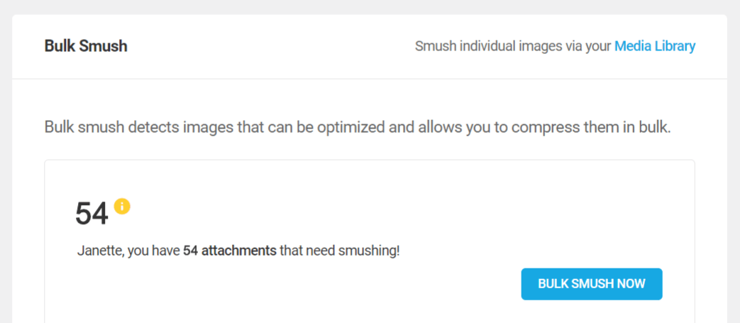 Smush bulk smush now button