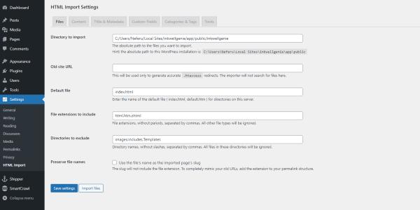 Converting HTML Sites to WordPress - HTML Import 2 Plugin Settings