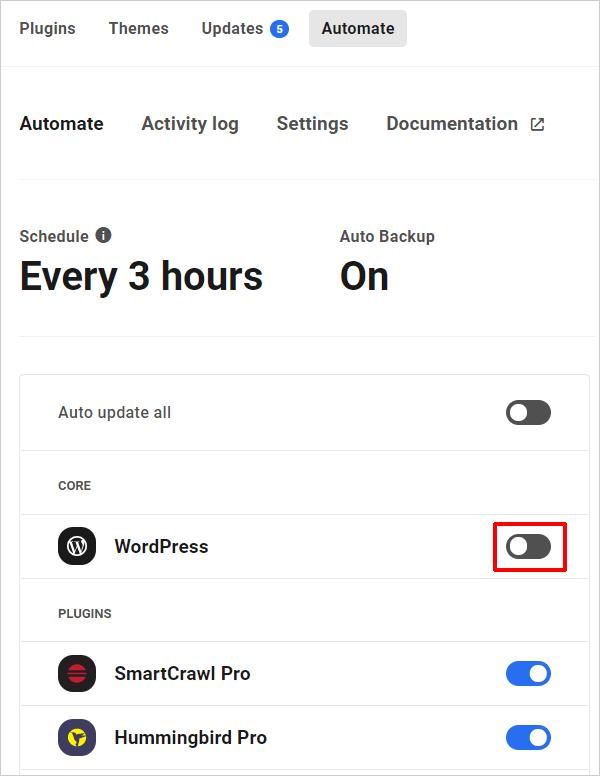 Automate schedule screen - core update off.