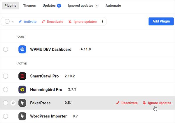 The Hub - Plugins - Ignore updates