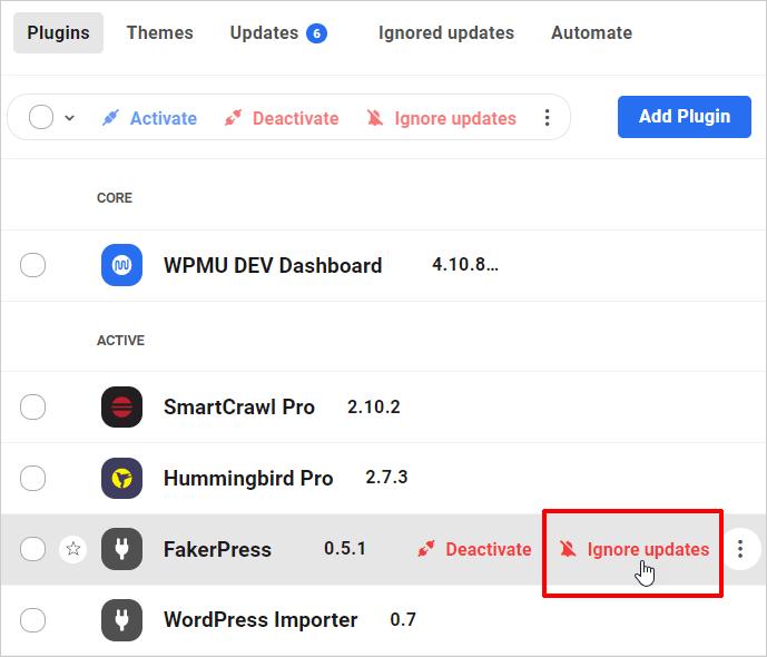 Plugins screen: Ignore updates link - single item.