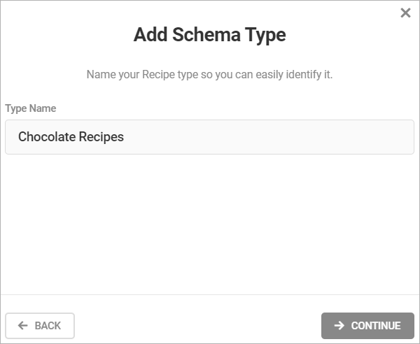 Add Schema Type - Type Name field.