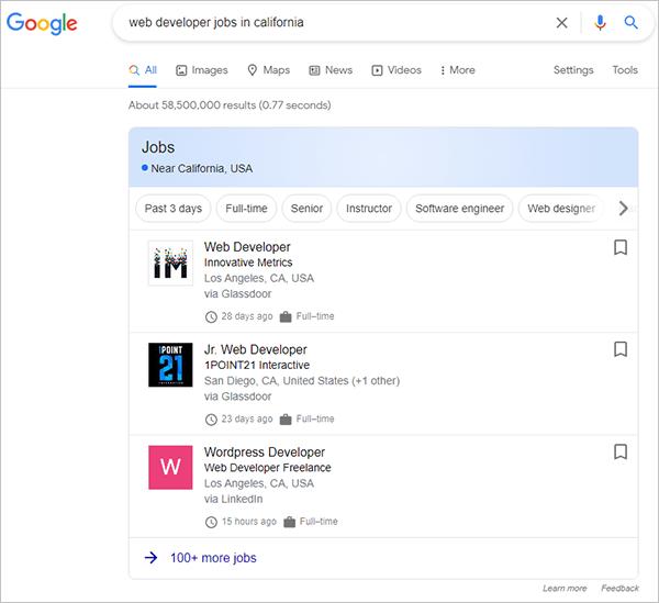 Job Posting schema type results.