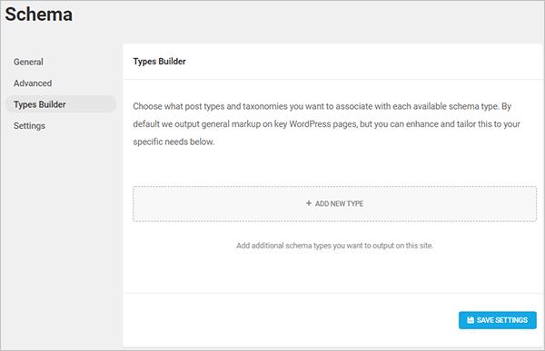 Schema screen - Types Builder tab