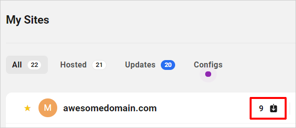 The Hub - My Sites update notifications.