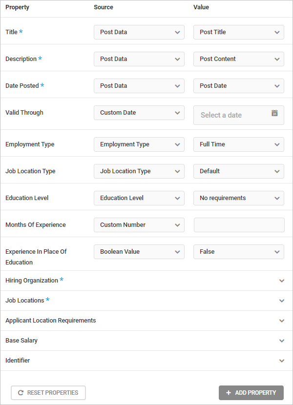 SmartCrawl Job Posting schema type properties.