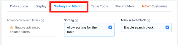 Sorting and filtering tab.