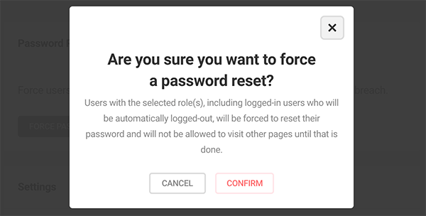 the confirmation sign about resetting password.
