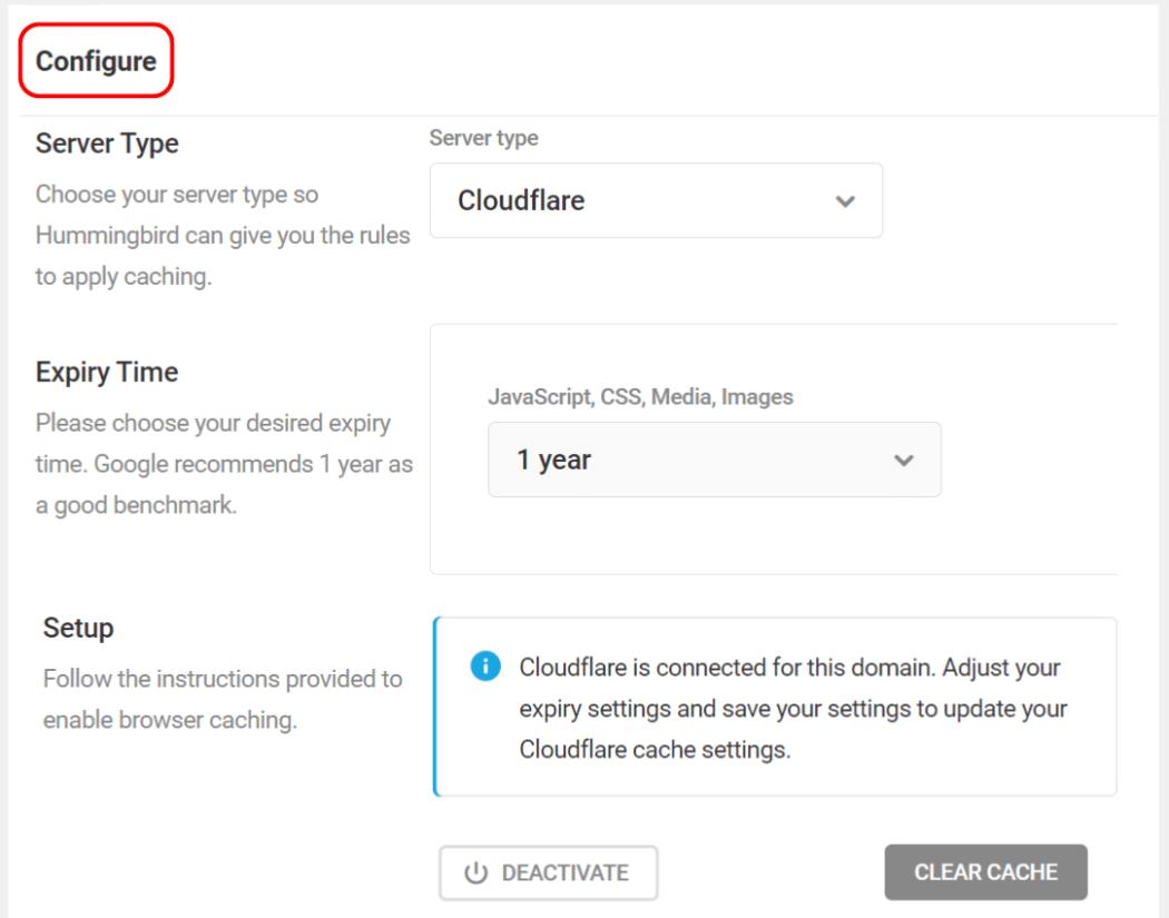 Cloudflare configure screen