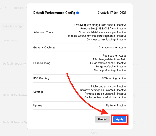 The apply button for configs.
