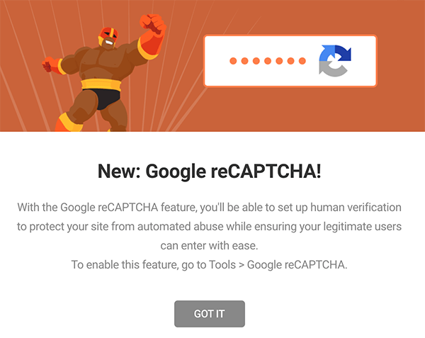 Defender's Google reCAPTCHA announcement.
